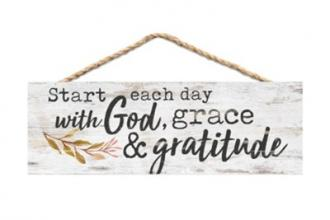 HPS 0017 Veggdekor - Start Each day With God, Grace & Gratitude (9 x 25 cm)